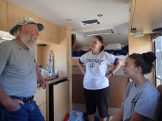 Bob in our Camper discussing Wine